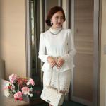 Chân váy công sở phối ren Hàn Quốc cho ngày thu dịu dàng