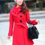 Áo dạ cách điệu cổ nơ màu đỏ AD12