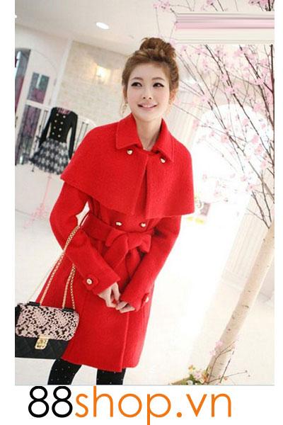 Áo dạ choàng dáng dài màu đỏ D11