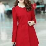 AD99 Áo dạ Hàn Quốc cổ tròn cách điệu màu đỏ