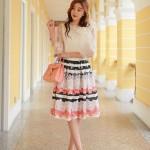 Chân váy xòe hoa style Hàn Quốc đẹp lung linh dạo phố
