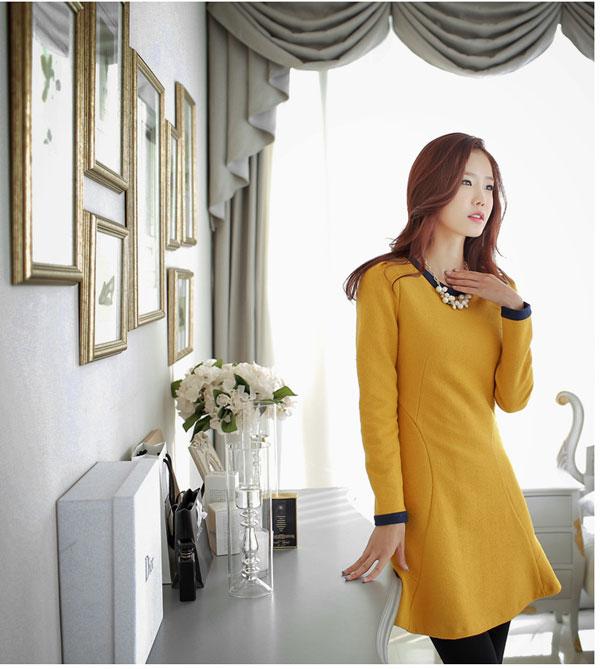 Váy Dạ Liền Công Sở Vay Lien Than Cong so Han Quoc